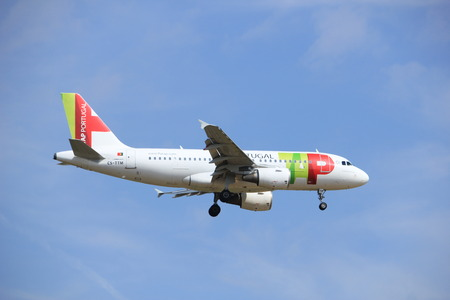 Amsterdam, the Netherlands - July 21st 2016: CS-TTM TAP - Air Portugal Airbus A319, approaching Polderbaan runway at Schiphol Amsterdam Airport, arriving from Porto, Portugal Editorial