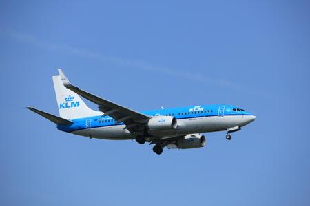 Amsterdam, the Netherlands - July 21st 2016: PH-BGU KLM Royal Dutch Airlines Boeing 737,  approaching Polderbaan runway at Schiphol Amsterdam Airport, arriving from Copenhagen, Danmark