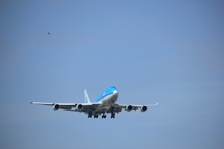 Amsterdam, the Netherlands - July 21st 2016: PH-BFD KLM Royal Dutch Airlines Boeing 747-406,  approaching Polderbaan runway at Schiphol Amsterdam Airport, arriving from Los Angeles, United States of America