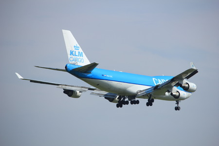 Amsterdam, the Netherlands - July 21st 2016:PH-CKC KLM Cargo Boeing 747, approaching Polderbaan runway at Schiphol Amsterdam Airport, arriving from Aguadilla, Puerto Rico Editorial