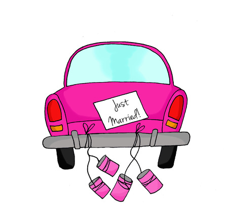Pink car with tins and Just Married sign