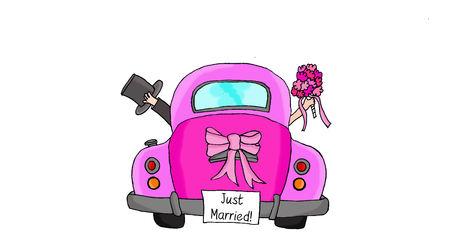"Bruid en bruidegom in roze auto met ""Just Married"" -teken"