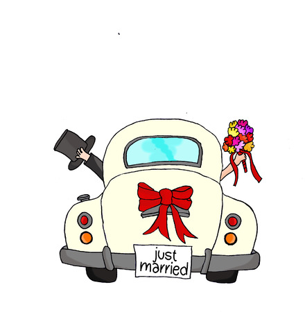 "Bruid en bruidegom in roze auto met ""Just Married"" -teken Stockfoto"
