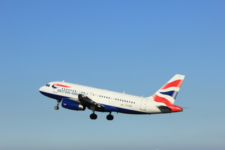 Amsterdam, the Netherlands  - August, 18th 2016: G-EUPN British Airways Airbus A319,  taking off from Polderbaan Runway Amsterdam Airport Schiphol Stok Fotoğraf