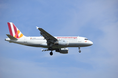 Amsterdam, the Netherlands - July 21st 2016: D-AKNO Germanwings Airbus A319, approaching Polderbaan runway at Schiphol Amsterdam Airport, arriving from stuttgard, Germany Editorial
