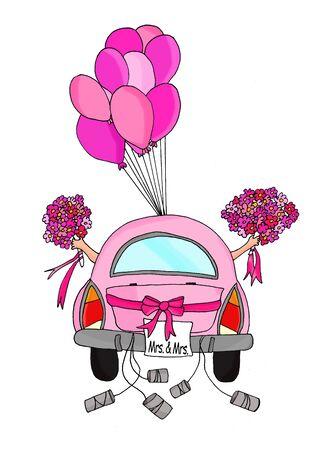 Twee bruiden in een roze auto met blikken en ballonnen Stockfoto