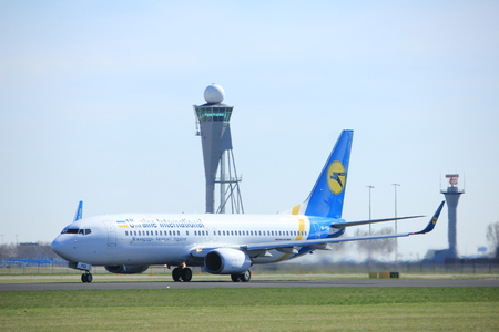 Amsterdam the Netherlands - March 25th, 2017: UR-PSS Ukraine International Airlines Boeing 737-800 takeoff from Polderbaan runway. Editorial