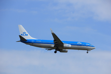 Amsterdam, the Netherlands - July 21st 2016: PH-PH-BXN KLM Royal Dutch Airlines Boeing 737,  approaching Polderbaan runway at Schiphol Amsterdam Airport, arriving from Paris, France