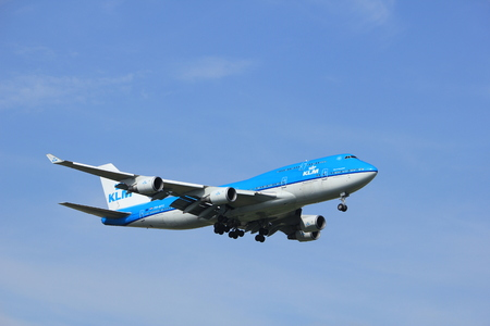 boeing 747: Amsterdam, the Netherlands - July 21st 2016: PH-BFG KLM Royal Dutch Airlines Boeing 747-406,  approaching Polderbaan runway at Schiphol Amsterdam Airport, arriving from Shanghai, China