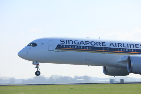 Amsterdam the Netherlands - April 2nd, 2017: 9V-SMI Singapore Airlines Airbus A350-900 takeoff from Polderbaan runway, Amsterdam Airport Schiphol