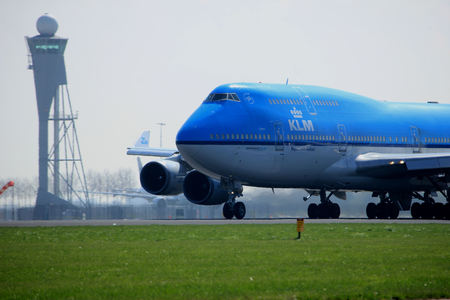 747 400: Amsterdam the Netherlands - April 2nd, 2017: PH-BFL KLM Royal Dutch Airlines Boeing 747-400 City of Lima takeoff from Polderbaan runway, Amsterdam Airport Schiphol