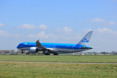 Amsterdam the Netherlands - April 2nd, 2017: PH-BHF KLM Royal Dutch Airlines Boeing 787-9 Dreamliner takeoff from Polderbaan runway, Amsterdam Airport Schiphol
