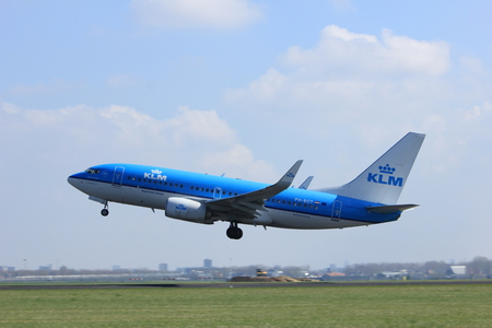 Amsterdam the Netherlands - April 2nd, 2017: PH-BVC KLM Royal Dutch Airlines Boeing 777-300 takeoff from Polderbaan runway, Amsterdam Airport Schiphol