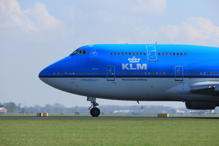 polderbaan: Amsterdam the Netherlands - April 2nd, 2017: PH-BFS KLM Royal Dutch Airlines Boeing 747-400M City of Seoul takeoff from Polderbaan runway, Amsterdam Airport Schiphol Editorial