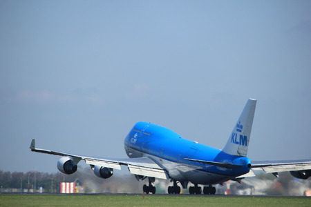 holland: Amsterdam the Netherlands - April 2nd, 2017:PH-BFI KLM Royal Dutch Airlines Boeing 747 City of Jakarta takeoff from Polderbaan runway, Amsterdam Airport Schiphol