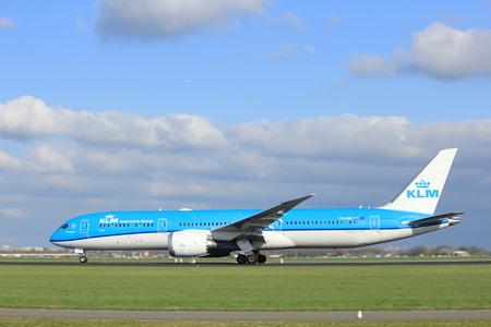 polderbaan: Amsterdam the Netherlands - April 7th, 2017: PH-BHE KLM Royal Dutch Airlines Boeing 787-9 Dreamliner takeoff from Polderbaan runway, Amsterdam Airport Schiphol