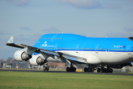 Amsterdam the Netherlands - April 7th, 2017: PH-BFT KLM Royal Dutch Airlines Boeing 747-400M City of Tokyo takeoff from Polderbaan runway, Amsterdam Airport Schiphol Editorial