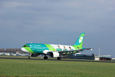 polderbaan: Amsterdam the Netherlands - April 7th, 2017: EI-DEI Aer Lingus Airbus A320-200 takeoff from Polderbaan runway, Amsterdam Airport Schiphol. Painted in Irish Rugby Team special colours Editorial