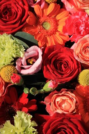 Mixed flower arrangement various flowers in different shades mixed flower arrangement various flowers in different shades of red pink and orange stock mightylinksfo