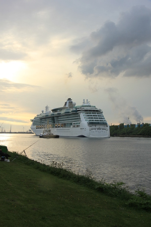 ijmuiden: Velsen, the Netherlands, May 1st 2017: Royal Caribbean Serenade of the Seas on North Sea Canal from Amsterdam towards the Ijmuiden sea lock
