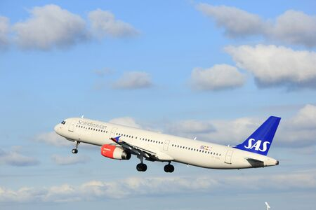 Amsterdam the Netherlands - April 7th, 2017: OY-KBL SAS Scandinavian Airlines Airbus A321 takeoff from Polderbaan runway, Amsterdam Airport Schiphol