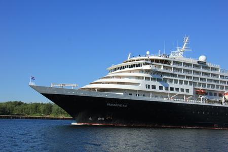ijmuiden: Velsen, the Netherlands - May, 20th 2017: MS Prinsendam, sailing from Passenger Terminal Amsterdam to IJmuiden North Sea sealock