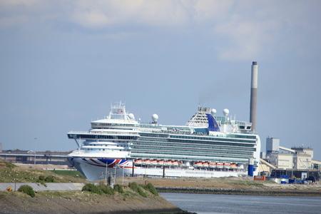 IJmuiden, the Netherlands -April 29th, 2017:   Ventura P & O Cruises in IJmuiden sea lock