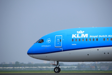 Amsterdam the Netherlands - May 6th, 2017: PH-BHE KLM Royal Dutch Airlines Boeing 787-9 Dreamliner takeoff from Polderbaan runway, Amsterdam Schiphol Airport