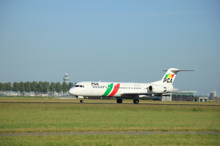 Amsterdam the Netherlands - June 9th, 2016: CS-TPF Portugália Fokker F100  takeoff fro Polderbaan runway, destination Porto, Portugal