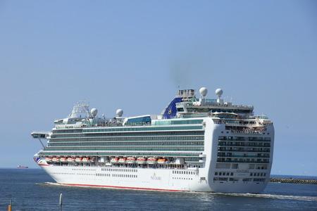 ijmuiden: IJmuiden, the Netherlands -April 29th, 2017:   Ventura P & O Cruises leaving IJmuiden Editorial