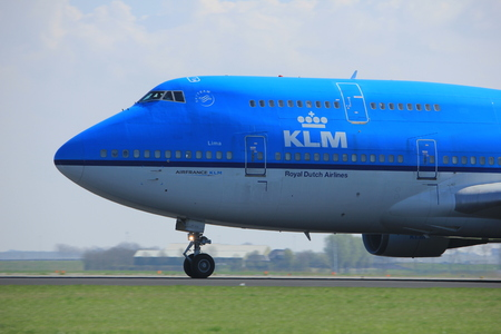 boeing 747: Amsterdam the Netherlands - April 2nd, 2017: PH-BFL KLM Royal Dutch Airlines Boeing 747-400 City of Lima takeoff from Polderbaan runway, Amsterdam Airport Schiphol