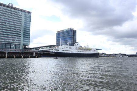 docked: Amsterdam, The Netherlands - April, 27th 2017: Astoria Cruise & Maritime Voyages docked at Passenger Terminal Amsterdam, the Worlds Oldest Cruise Ship built in 1948