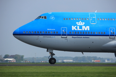 Amsterdam the Netherlands - May 6th, 2017: PH-BFE KLM Boeing 747 takeoff from Polderbaan runway, Amsterdam Schiphol Airport, City of Melbourne Editorial