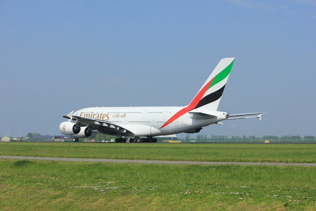 Amsterdam the Netherlands - May 6th, 2017: A6-EEX Emirates Airbus A380-800 takeoff from Polderbaan runway, Amsterdam Schiphol Airport