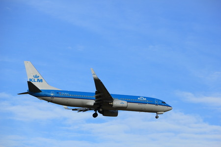 Amsterdam, the Netherlands - July 15th 2016:PH-BCA KLM Royal Dutch Airlines Boeing 737 approaching Polderbaan runway at Schiphol Amsterdam Airport, arriving from Paris, France