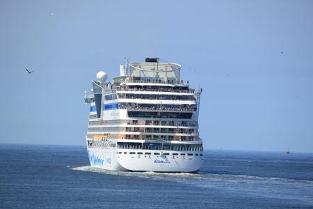 ijmuiden: IJmuiden, the Netherlands -April 29th, 2017:   Aida Luna leaving IJmuiden on North sea Editorial