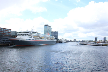 Amsterdam, The Netherlands - April, 27th 2017: Balmoral and Astoria docked at Passenger Terminal Amsterdam