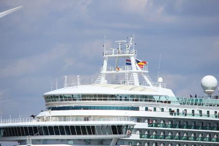 IJmuiden, the Netherlands -April 29th, 2017:   Ventura P & O Cruises detail of ship