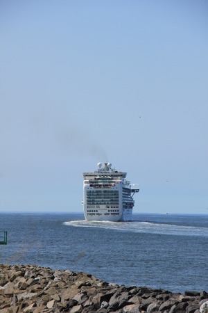 IJmuiden, the Netherlands -April 29th, 2017:   Ventura P & O Cruises leaving IJmuiden Editorial