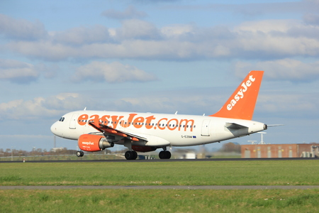 Amsterdam the Netherlands - April 7th, 2017: G-EZBM easyJet Airbus A319 takeoff from Polderbaan runway, Amsterdam Airport Schiphol