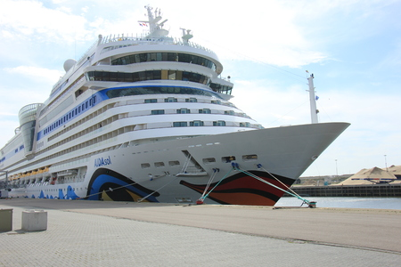 IJmuiden, the Netherlands - April 30th, 2017:   Aida Sol docked at the Felison Cruise Terminal Editorial
