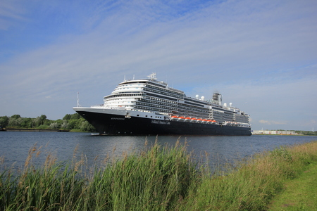 cruising: Velsen, the Netherlands -  June, 19th 2016: MS Koningsdam. MS Koningsdam is a cruise ship operated by Holland America Line. It was cristened on may 29th 2016 in Rotterdam.