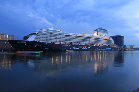 docked: Amsterdam, The Netherlands - May 11th 2017: Mein Schiff 3 TUI Cruises docked at Passenger Terminal Amsterdam