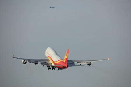 Amsterdam, the Netherlands  -  June 2nd, 2017: B-2432 Yangtze River Express Boeing 747 taking off from Polderbaan Runway Amsterdam Airport Schiphol Editorial