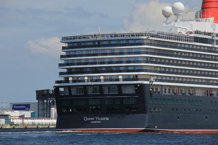 ijmuiden: IJmuiden, The Netherlands - June 5th 2017: Queen Victoria, Cunard on North Sea Channel, detail of ship