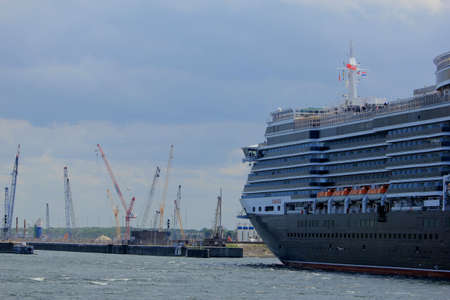 IJmuiden, The Netherlands - June 5th 2017: Queen Victoria, Cunard on North Sea Channel, entering the North Sea Lock Editorial