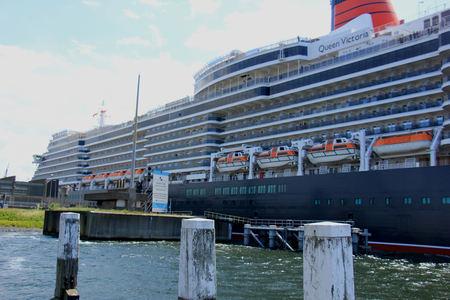 ijmuiden: IJmuiden, The Netherlands - June 5th 2017: Queen Victoria, Cunard on North Sea Channel, entering the North Sea Lock Editorial