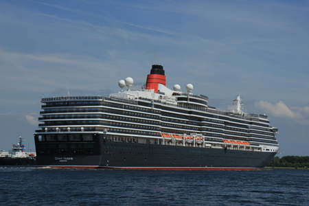 ijmuiden: Velsen, The Netherlands - June 5th 2017: Queen Victoria, Cunard on North Sea Channel towards Amsterdam Editorial