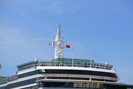 cruising: IJmuiden, The Netherlands - June 5th 2017: Queen Victoria, Cunard on North Sea Channel, detail of ship