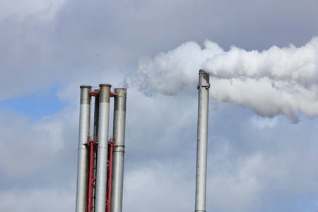 smokestacks: Chimneys and smokestacks of an industrial plant, Chemical industrial industry